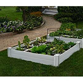 "Vita Gardens VT17104 Vita Bed with GRO 48in x 7.5in Garden with Grid, 7.38"" H, White 19 Available in classic white Can combine more than one unit Grid system increases yield because plants can be planted closer together"