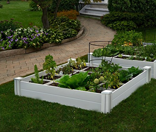 "Vita Gardens VT17104 Vinyl Raised Bed with Grow 48in x 7.5in Garden with Grid, 7.38"" H"