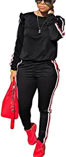 Akmipoem Sweatsuit Jumpsuits for Women Ruffle Sleeve Sweatshirt and Sweat Pants Set Tracksuits Black XL