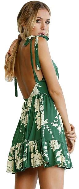 Fuxiang Vestidos Boho Cortos Chic Mujer Verano Playa Estampado Midi Bohemios Vestido Strappy Imprimen V Cuello