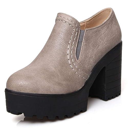 Tacones de Plataforma de Deslizamiento en Tacones Altos Botas para Mujeres  Zapatos de tacón Cuadrado Cuero otoño Invierno cálido cómodo al Aire Libre  ... e8d4f5f9a1c8