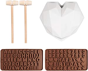 Neepanda 3D Diamond Heart Shape Cake Mold Food, Grade Silicone No Stick Mold Oven Safe + Wooden Hammers Mallet Pounding Toy + Number Chocolate Molds with Happy Birthday Symbols for Cake Decorations