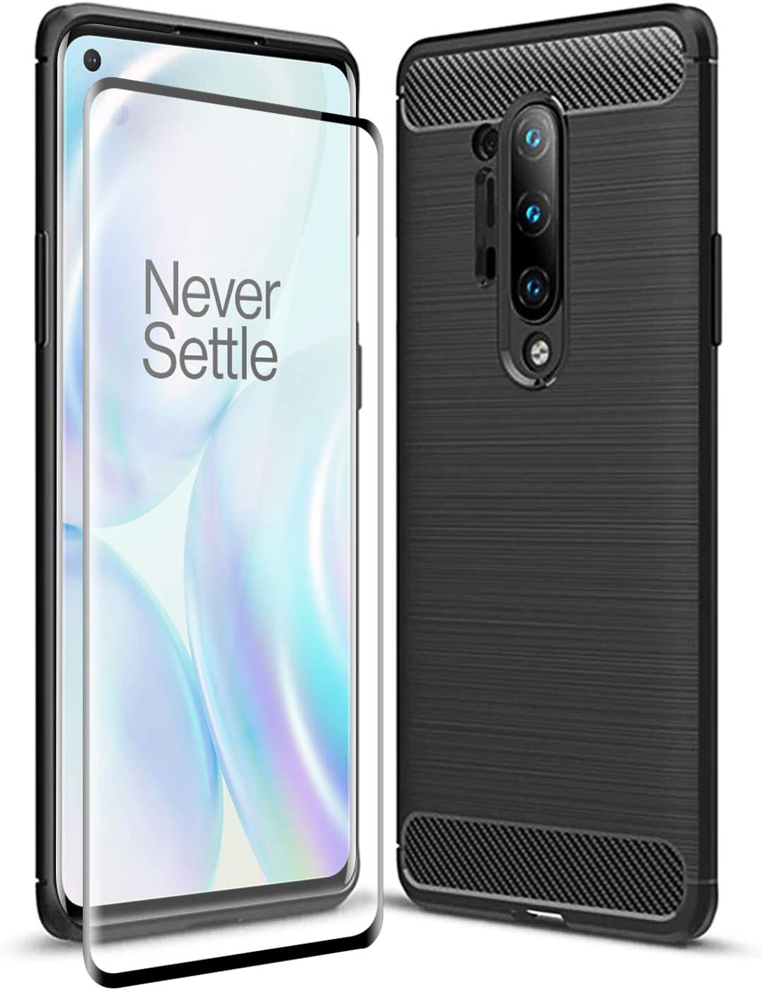 Olixar Case with Screen Protector for OnePlus 8 Pro, Stylish 2 in 1 Protection - Defend Your Phone & Screen from Drops, Shocks and Scratches Sentinel - Black