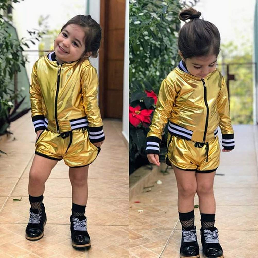 Baby Girls Zip up Jacket/&Short Pants Sets Golden Shiny Cute Clothing 2 Pcs Autumn Outfits Set