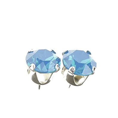 pewterhooter 925 Sterling Silver stud earrings expertly made with Air Blue Opal crystal from SWAROVSKI® for Women YhPNj
