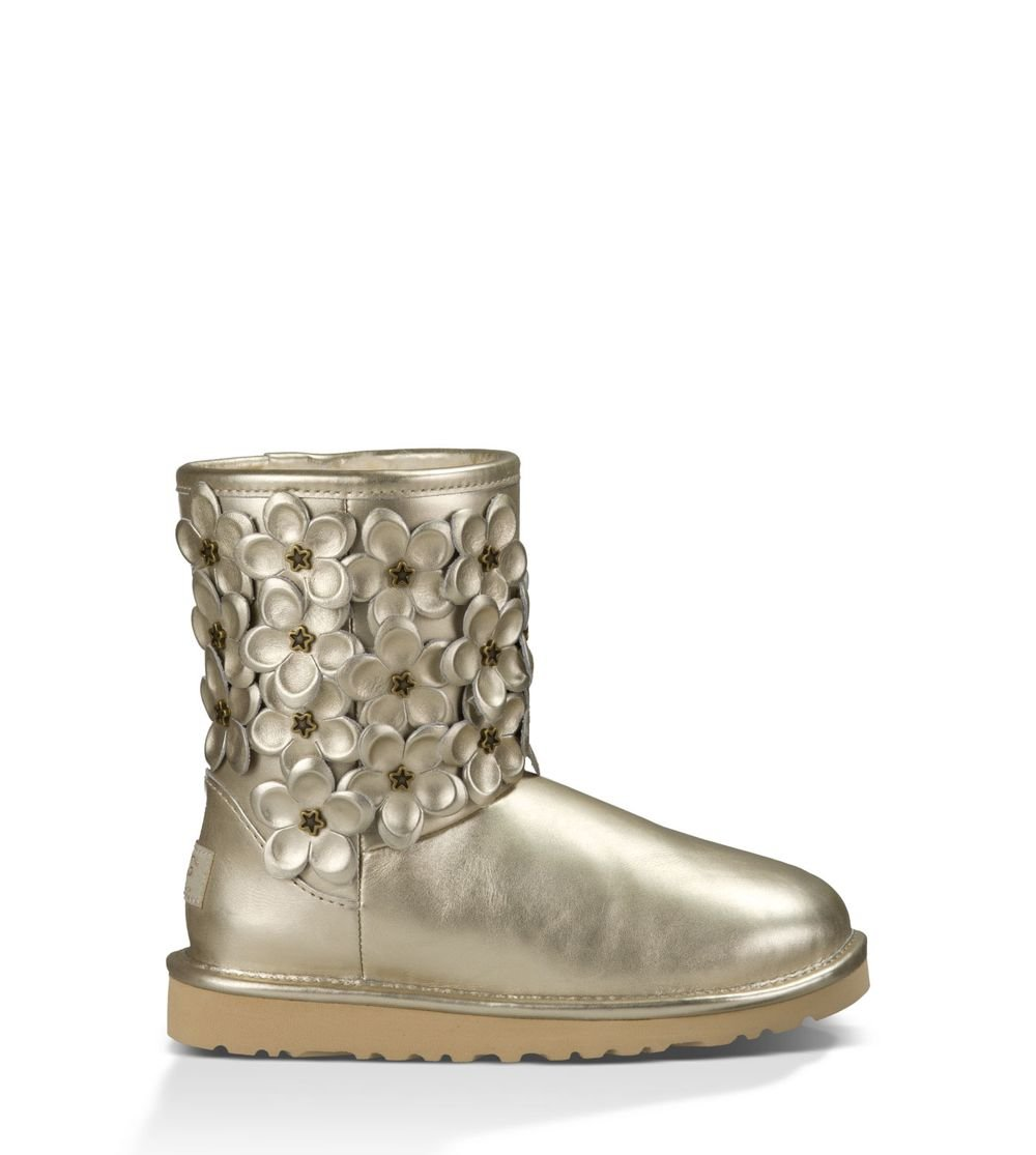 UGG Kids Girl's Classic Short Flora (Big Kid) Soft Gold Leather Boot