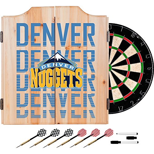 Trademark Gameroom NBA7010-DN3 NBA Dart Cabinet Set with Darts & Board - City - Denver Nuggets by Trademark Global