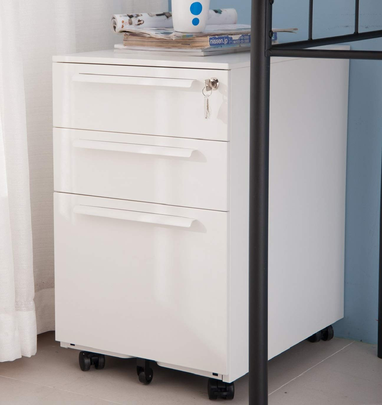 3 Drawer File Cabinet Rolling Metal Filing Cabinet with Lock Mobile Pedestal Storage Fully Assembled Without Casters (White)