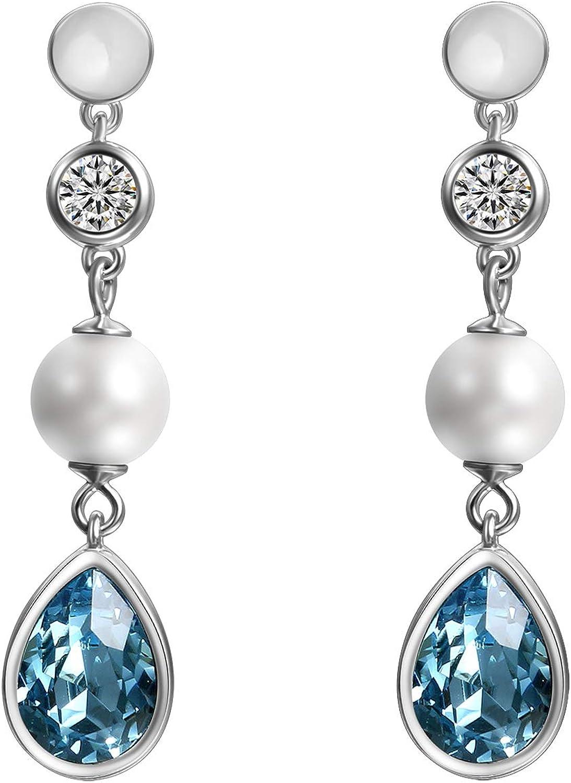 Cupimatch - Pendientes para mujer de plata 925 con cristales Swarovski, color azul