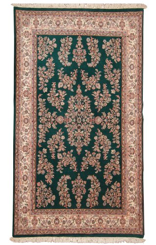 (New Hand Knotted SAROUK Rug Woven with New Zealand Worsted Wool 6 X 9 Handmade Wool Area Rugs in Art Deco Floral Design Dark Green / Ivory Color Will Match)