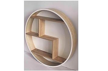 Étagère murale ronde en bois etagere scandinave etagere ronde (blanc ...