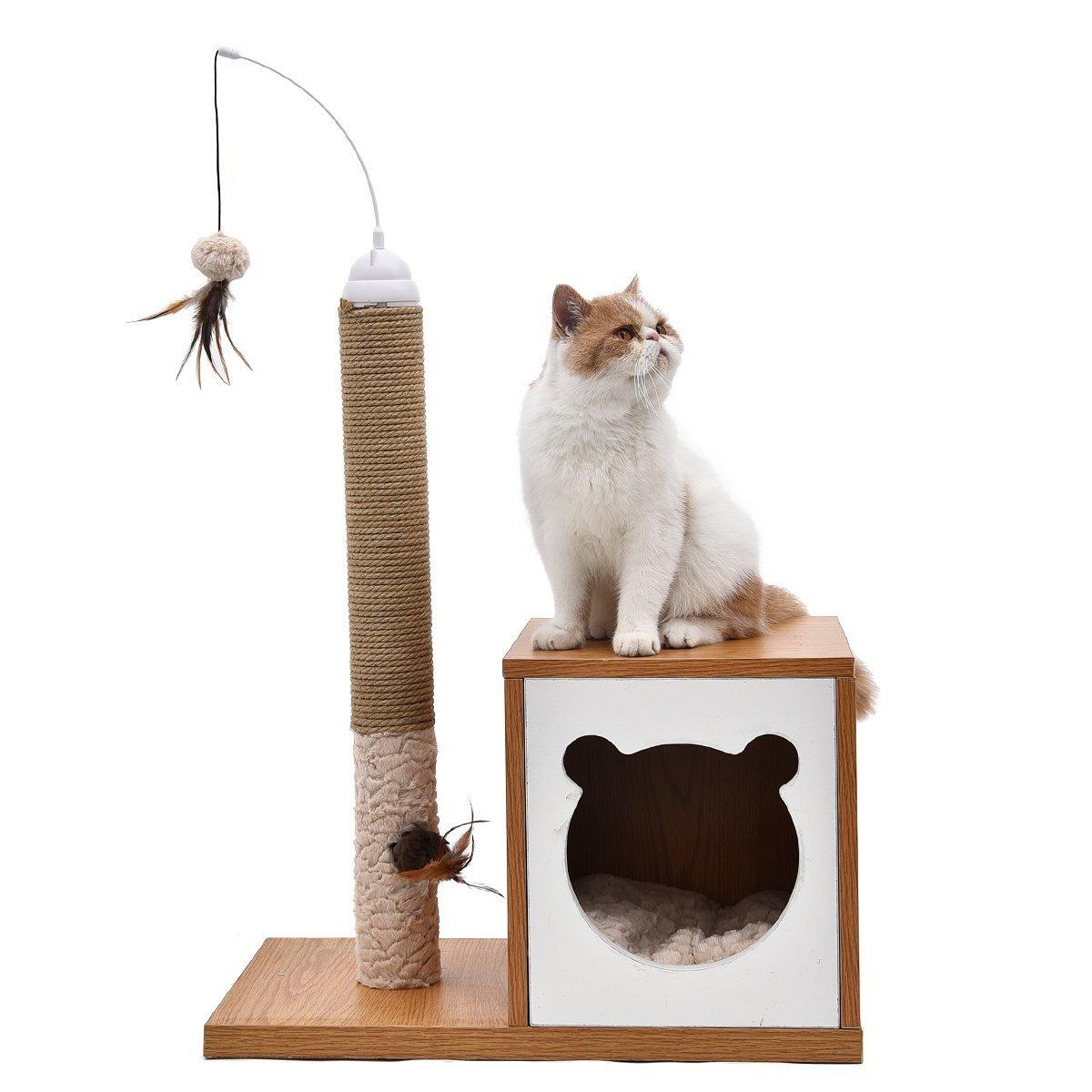 JILAN HOME- Katzen-Baum-Haustier-Kratzer-natürliches Sisal-Kätzchen-Spielwaren mit Ballkarton-Entwurf