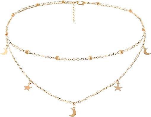 Amazon Com Baublestar Fashion Layering Star Moon Charm Pendant Tassel Necklace Gold Chain Choker Collar Multi Layered Statement Jewelry For Women Girls Ban0024 Jewelry