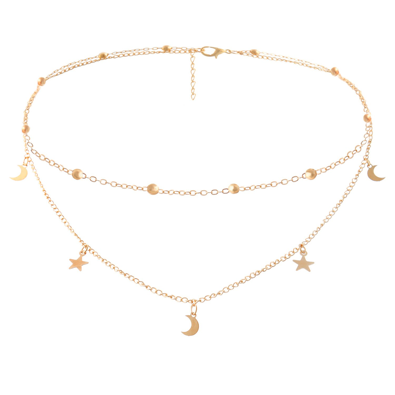 BaubleStar Fashion Layering Star Moon Charm Pendant Tassel Necklace Gold Chain Choker Collar Multi Layered Statement Jewelry for Women Girls BAN0024