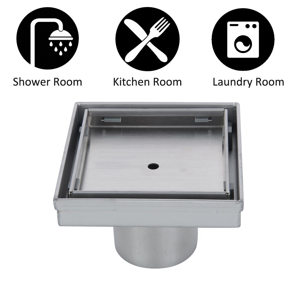 KDrain 6 Inch Square Shower Floor Drain for Bathroom and Kitchen, Tile-in Design Floor Shower Drain Made of 304 Rustproof Stainless Steel with Brushed Finish, Kit Includes Hair Strainer and Key by KDrain (Image #6)