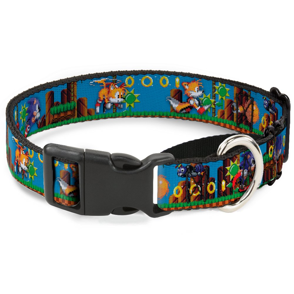 Buckle-Down Sonic & Tails Game Play Scene  Martingale Dog Collar, bluee Brown Green, 1  9-15  Small