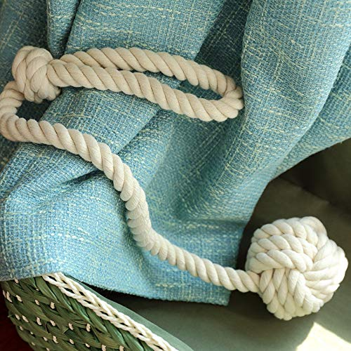 YIDIE 4 Pieces Cotton Rope Holdbacks Hand Knitting Window Curtain Tiebacks for Blackout Curtains, Grey by YIDIE (Image #2)