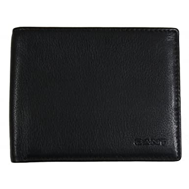 68c3fcfe01 Gant Men's Classic Leather Wallet and Card Holder Black: Amazon.co ...