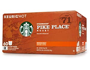 Starbucks Pike Place Coffee, Medium, Keurig K-Cups, 60 ct