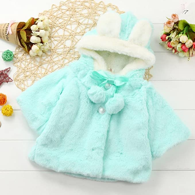 Gotd Newborn Baby Girls Autumn Winter Clothes Hooded Coat Cloak Jacket Thick Warm Outwear (0-6 Months, Blue)