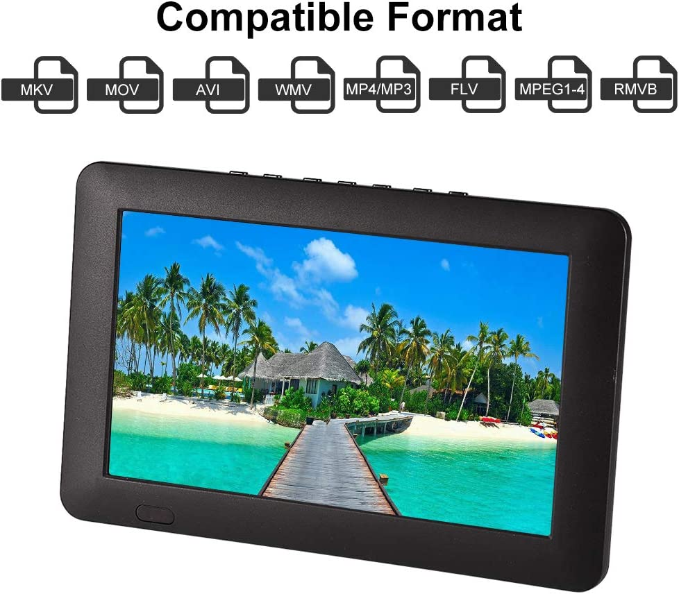 """Acogedor 9"""" Portable Small TV, ATSC Car TV Digital Television with USB/TF Card Slot,1080P HD Video Player for Home Car Outdoor,Built-in Rechargeable Battery,"""