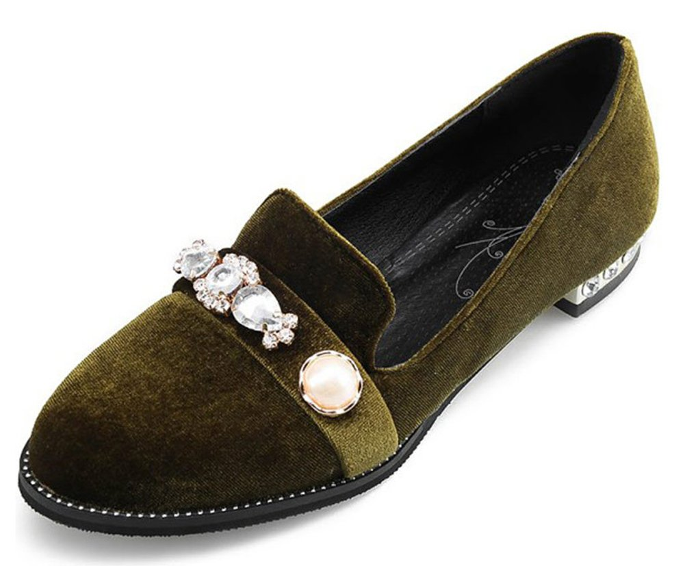Aisun Damen Oxford Strass Perlen Runde Zehen Low Top Flach Loafer Halbschuhe Grün