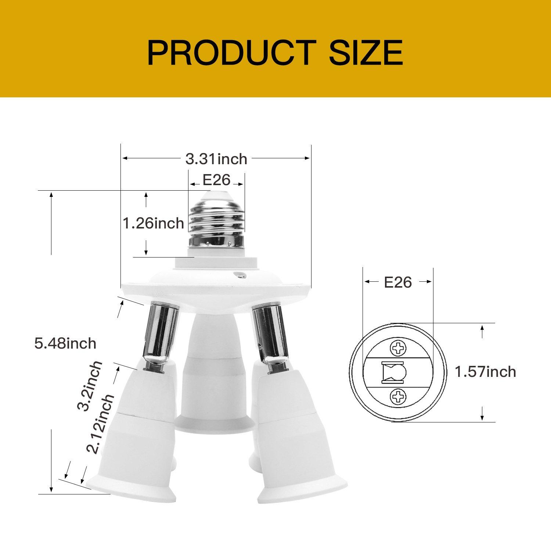 Adjustable 7 in 1 Light Socket Splitter E27 Adapter Converter for Standard LED Bulbs 360 Degrees Adjustable 180 Degree Bending Max Watt 300W