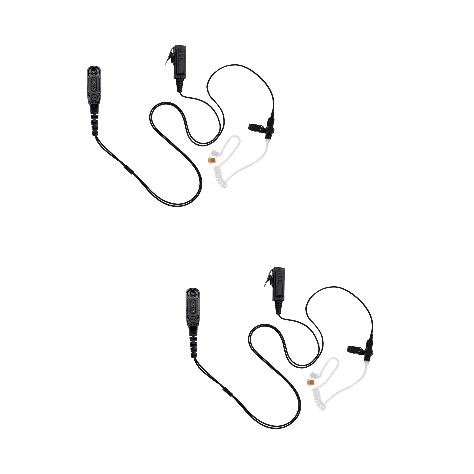 2 Pack Maxtop ASK4038-M9 2-Wire Clear Coil Surveillance Headphone for Motorola MTP850 MOTOTRBO XPR-6550 XPR-7580