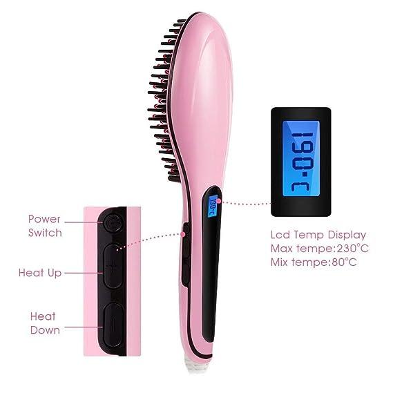 Cepillo alisador eléctrico Magicfly - Profesional y automático - Para masajear el cabello, y dejarlo recto y liso - Con suministro de aniones negativos: ...