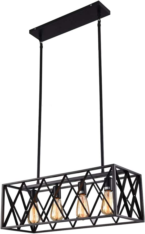 mirrea Vintage Pendant Light Fixture 4 Lights in Rectangle Frame Shade Matte Metal Black Painted Finish