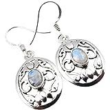 Unique Rainbow Moonstone Drop Earrings 925 Sterling Silver 7.0 Carat Jeweller's Quality Art Nouveau 99peNxv