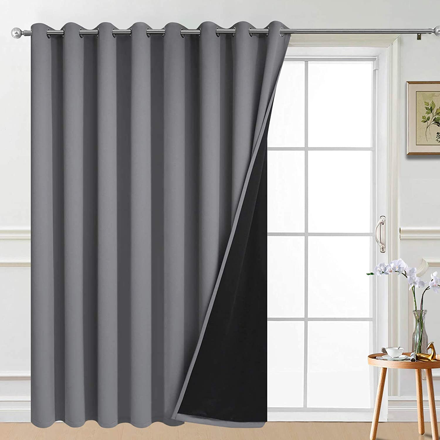 Amazon Com Yakamok 100 Wide Blackout Curtain 100 X 84 Inches For Sliding Glass Door Grommet Light Blocking Thermal Insulated Room Divider Curtain For Living Room 1 Panel 8 3ft Wide X 7ft Tall Grey