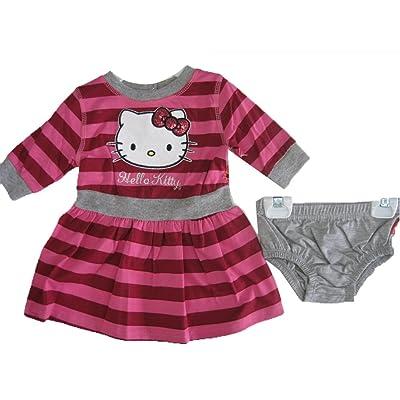 9955de149 Hello Kitty Baby Girls Gray Fuchsia Striped Sequined Underwear Dress 2  Piece Set 12M-24M