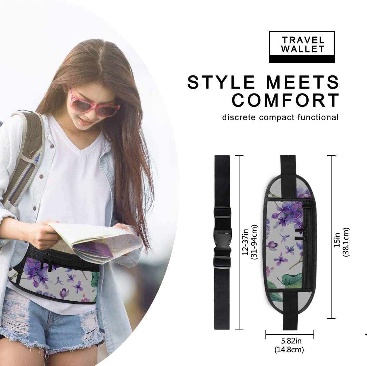Collection Purple Lilac Flowers Leaves Running Lumbar Pack For Travel Outdoor Sports Walking Travel Waist Pack,travel Pocket With Adjustable Belt