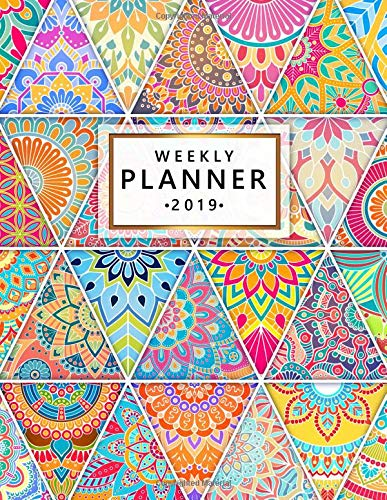 Weekly Planner 2019: Cute Hand Drawn Mandala Weekly and ...