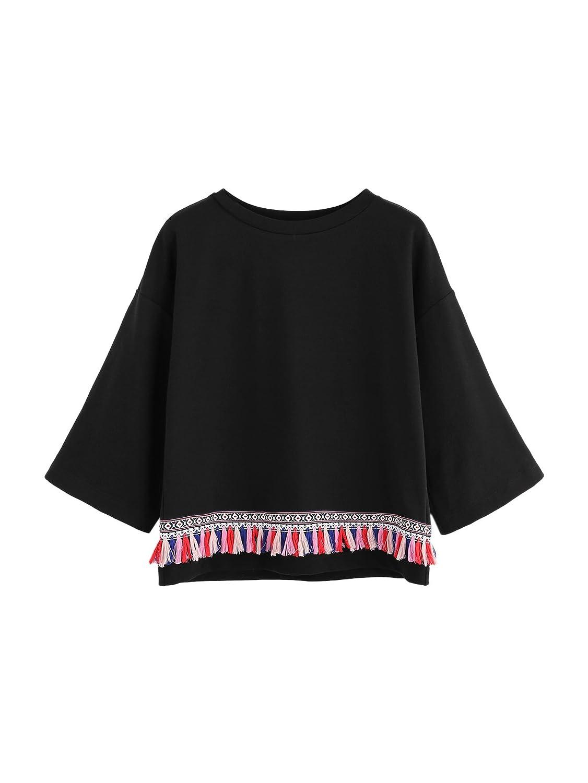 Floerns Women's Crew Neck Half Sleeve Tassels Trim Pullover Sweatshirt