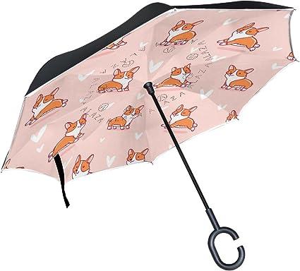 Double Layer Corgis Inverted Umbrellas C-Shaped Handle Umbrella Windproof Reverse Folding Umbrella for Car
