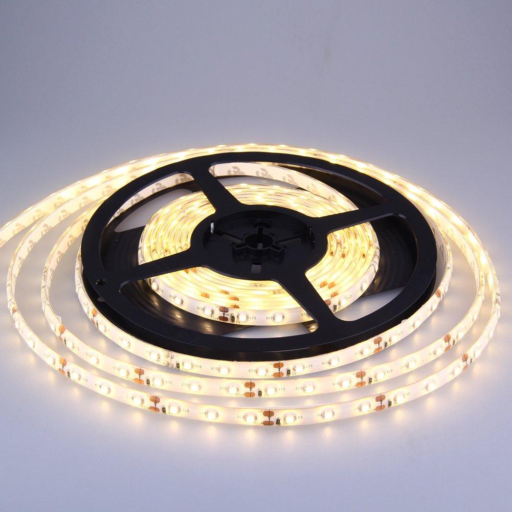 LED SET: 5M 300LEDs 3528 Selbstklebend Lichtband 12V Strip Leiste Dekoration Weihnachten (Warmweiß) EleoptionDE