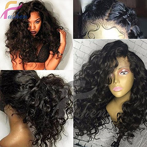 Full Lace Wigs with Baby Hair Virgin Brazilian Curly Short Bob Wig Full Lace Front Human Hair Wigs for Black Women (16 inch with 150% Density Natural Color, full lace wig)