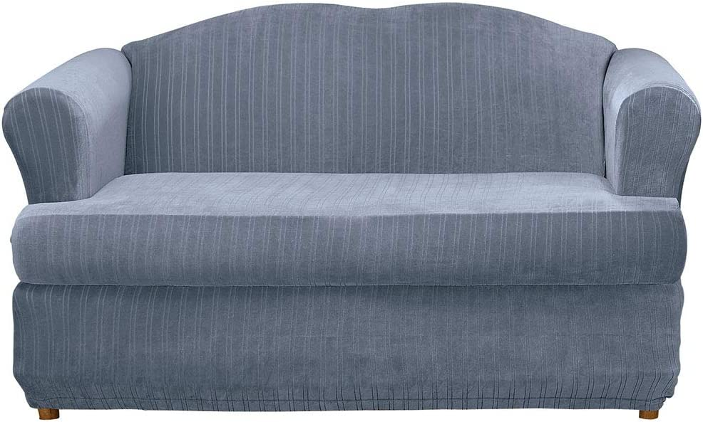 Surefit Stretch Pinstripe T-Cushion Sofa Two Piece Slipcover, Form Fit, Polyester/Spandex, Machine Washable, French Blue Color