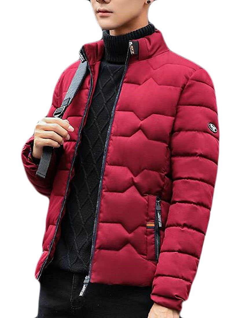 HTOOHTOOH Men Winter Warm Stand Collar Thicken Down Outdoor Puffer Coat Jackets