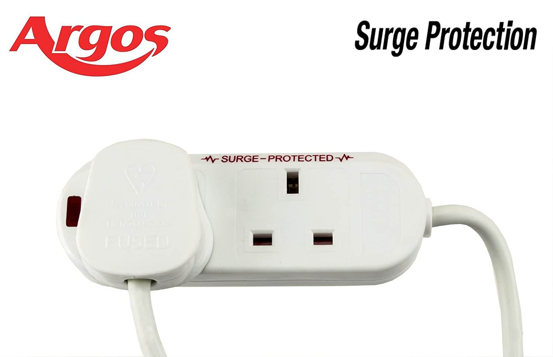 Argos way m extension lead surge protection white
