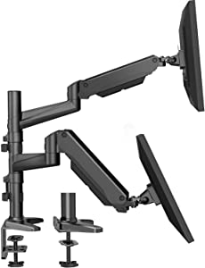 HUANUO Dual Monitor Mount Stand - Aluminum Gas Spring Arm Height Adjustable Monitor Desk Mount VESA Bracket for 2 17 to 32 Inch LCD Computer Screens with C Clamp, Grommet Base