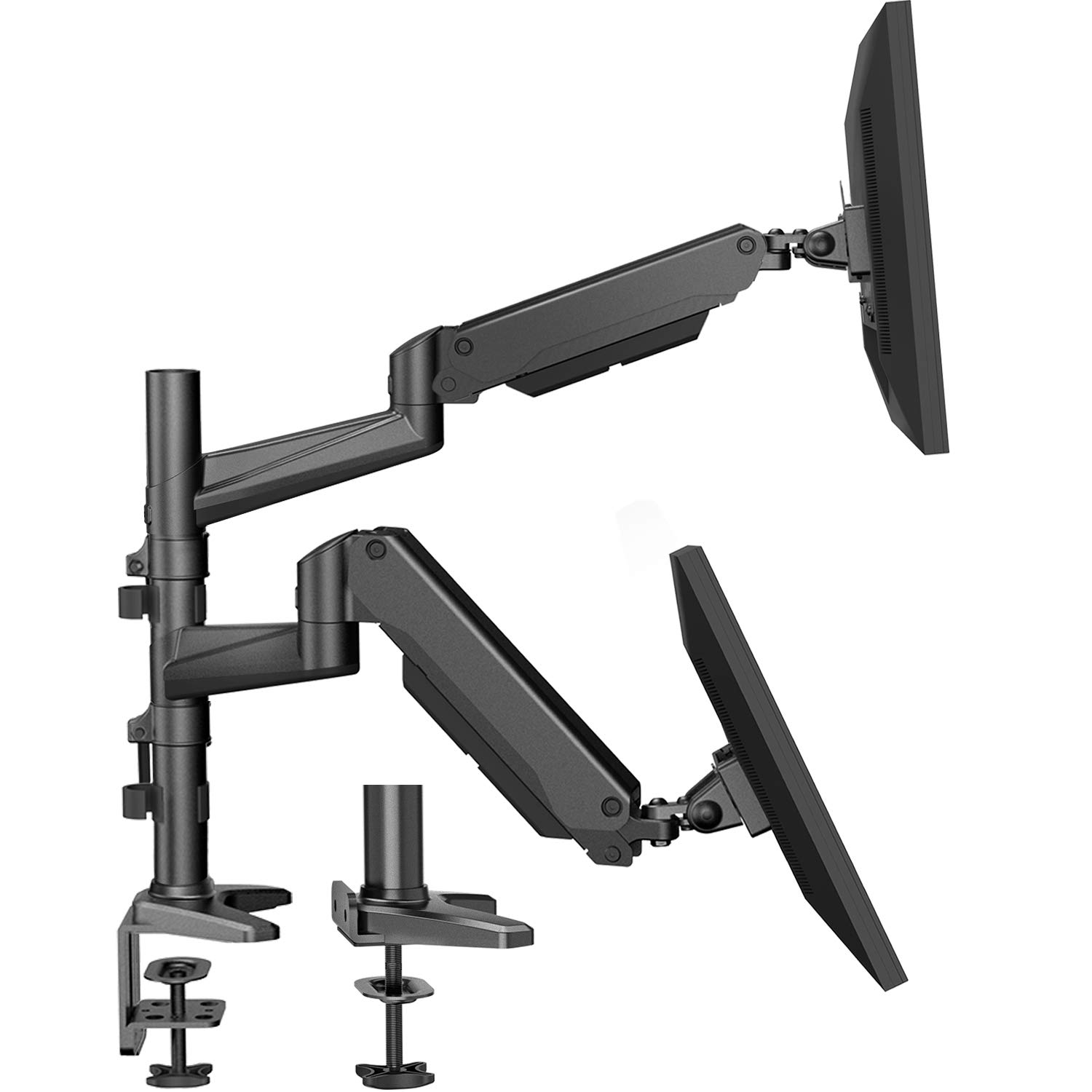 HUANUO Dual Monitor Mount Stand - Aluminum Gas Spring Arm Height Adjustable Monitor Desk Mount VESA Bracket for 2 17 to 32 Inch LCD Computer Screens with C Clamp, Grommet Base by HUANUO