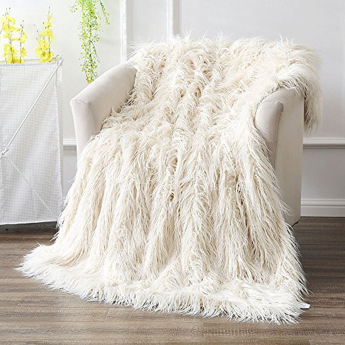 "Ivory Floor Pillow - Ojia Super Soft Fuzzy Shaggy Mongolian Lamb Faux Fur Throw Blanket Plush Warm Cozy Elegant Long Bedding Cover Chic Decorative for Sofa Floor-50""x 60"",Cream White"