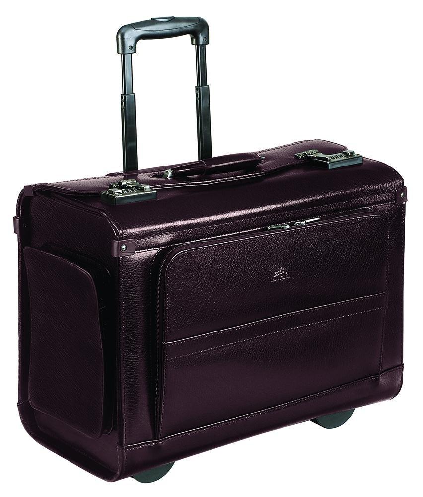 Mancini Wheeled Leather Catalog Case - Burgundy