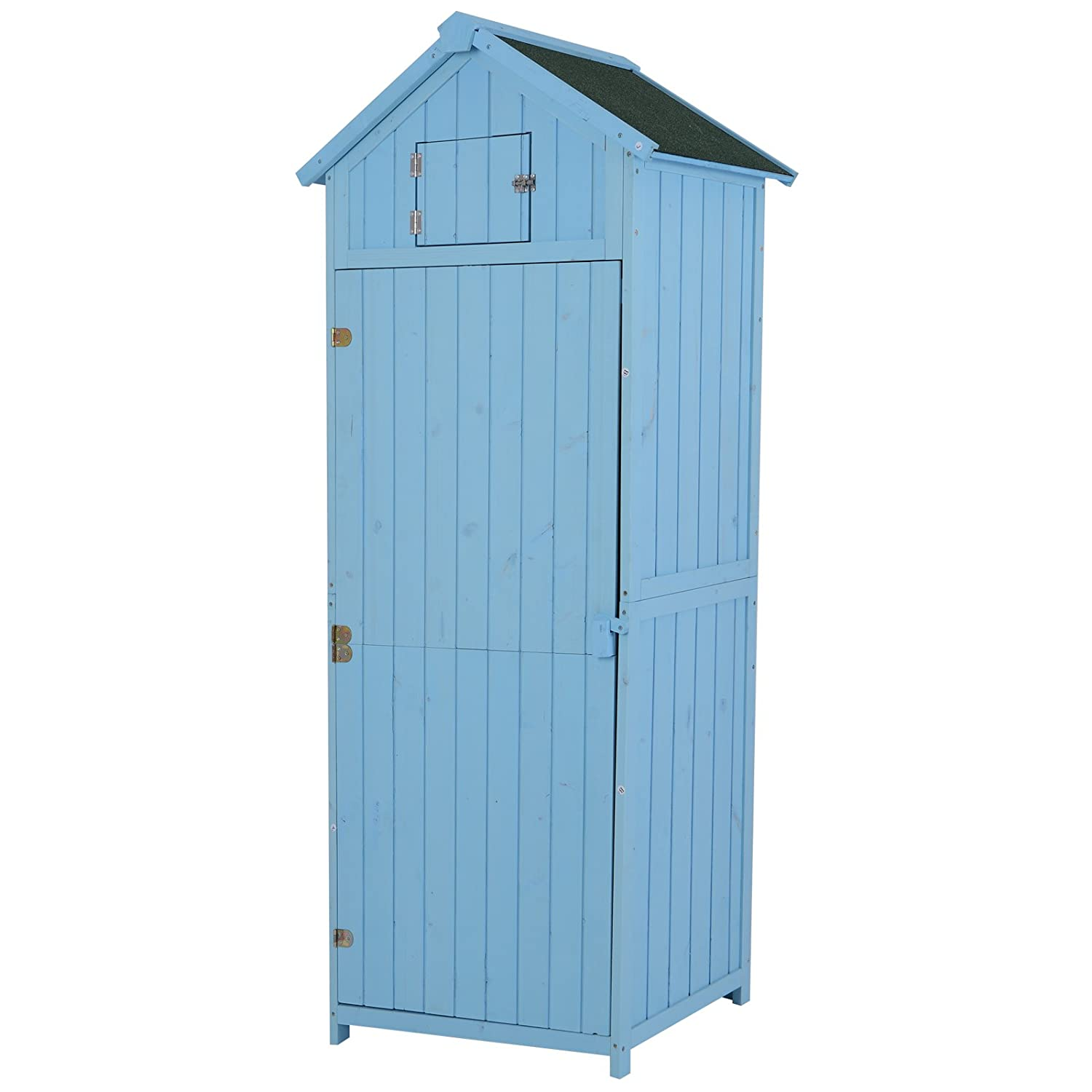 Outsunny Vertical Utility 3 Shelves Shed Wood Outdoor Garden Tool Storage Unit Storage Cabinet with Window77 x 54.2 x 179cm - Blue Sold by MHSTAR UK845-209BU0331