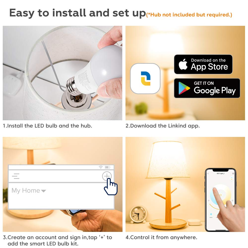 Linkind Smart Bulb, Zigbee LED Warm White A19 Bulb, 9W, Dimmable, hub Required, 2700K, Warm White, 60W Equivalent, Compatible with Alexa, Pack of 1