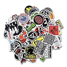 Laptop Stickers [100 pcs], Breezypals Car Stickers Luggage Decal Graffiti Guitar Skateboard Vinyl Stickers for Laptop, Rock and Roll Music Band Stickers [No-Duplicate Sticker Pack]