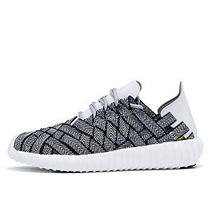 Woven Casual running Shoe (6.5 B(M) US Women /5.5 D(M) US Men, BLACK/WHITE)
